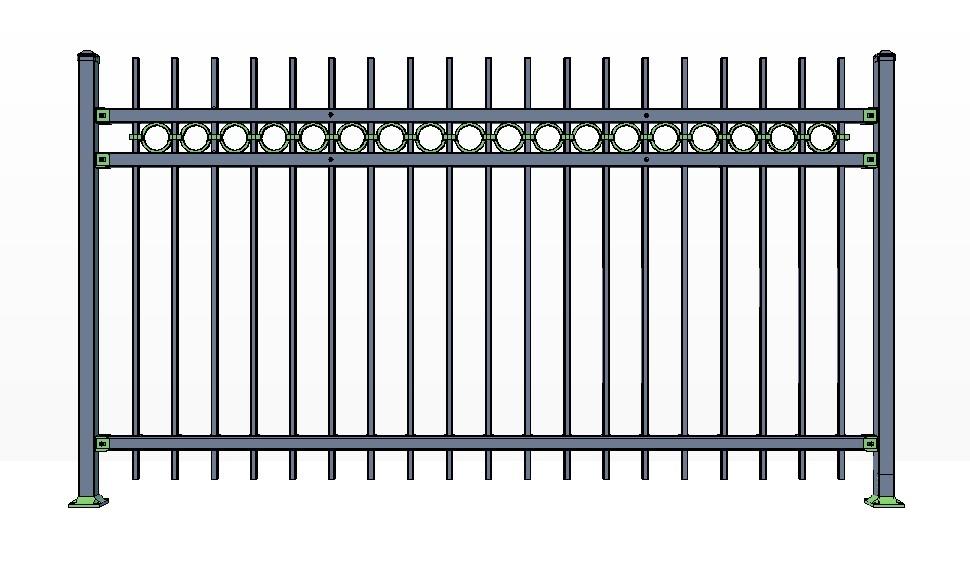 3-Rail POWDERHORN Fence Panels w/ Rings