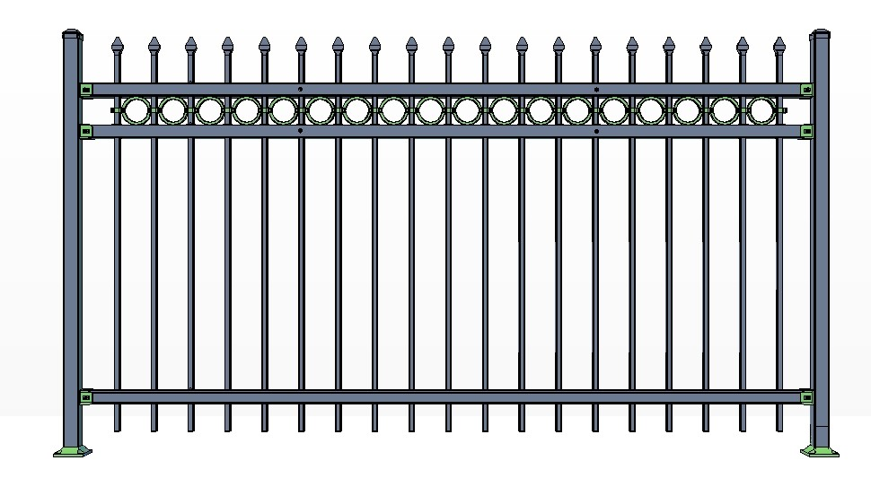 3-Rail STOWE Fence Panels w/ Rings