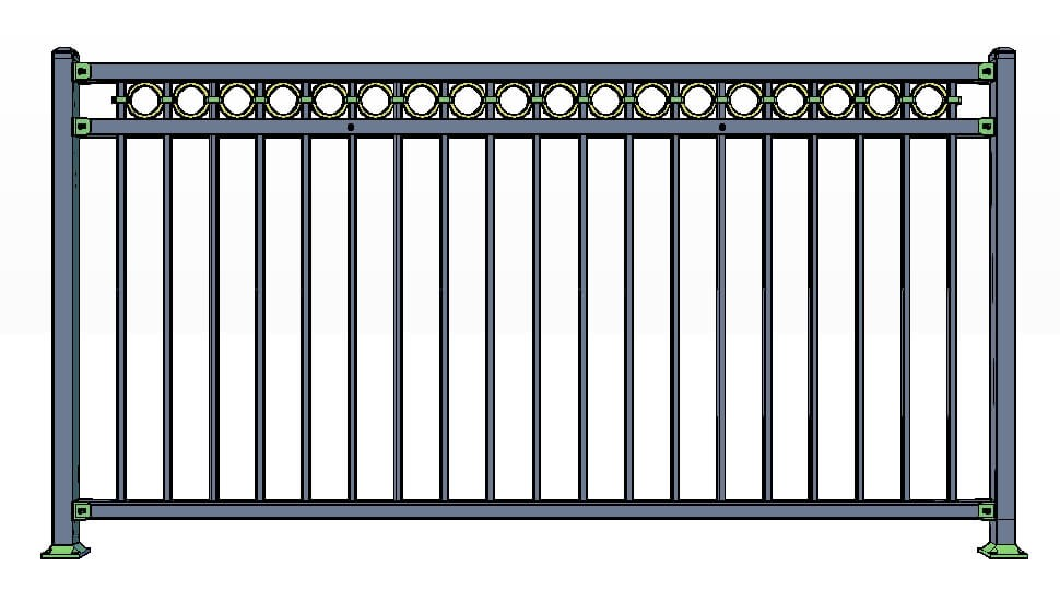 3 Rail Vail Fence Panels w/ Rings Commercial Lite