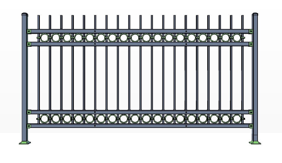 4 Rail Killington Fence Panels w/ Rings Commercial Lite